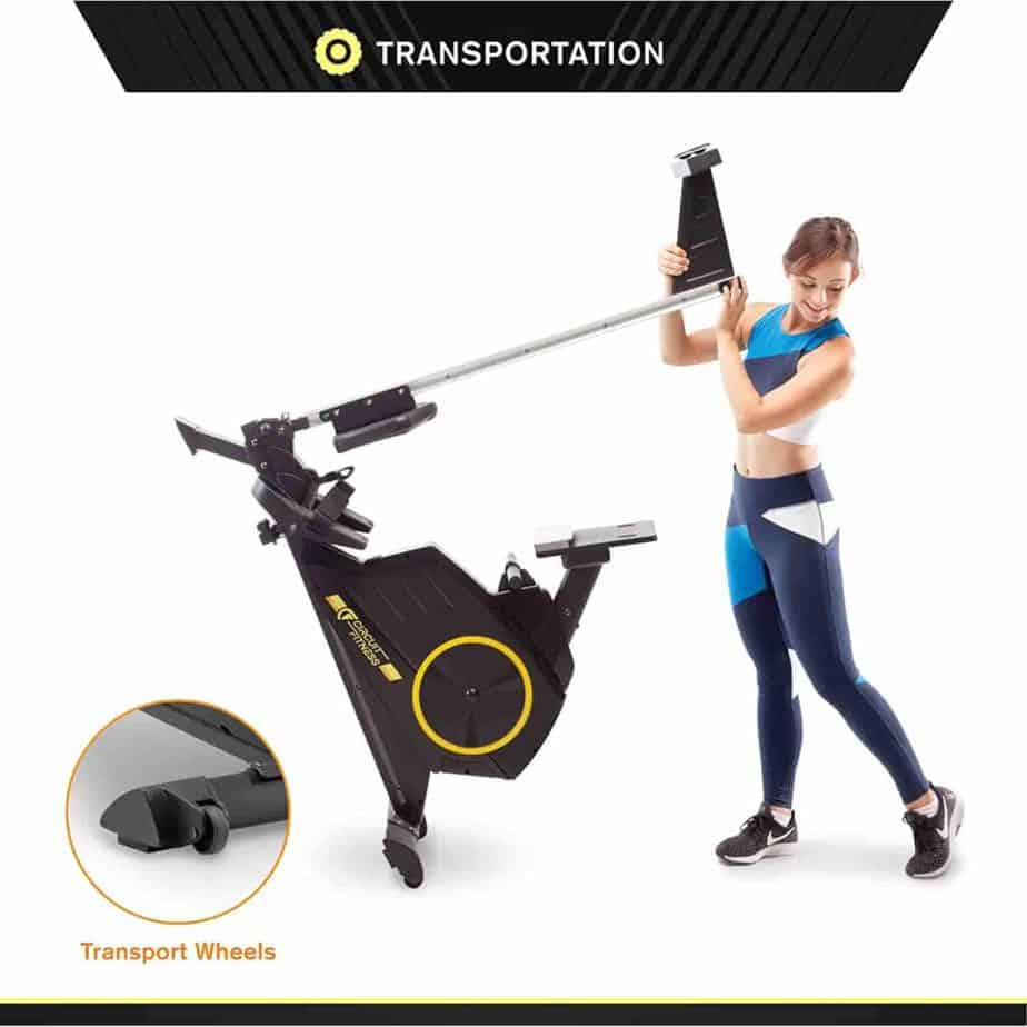 The folded version of the Circuit Fitness AMZ-986RW-BT Magnetic Rowing Machine