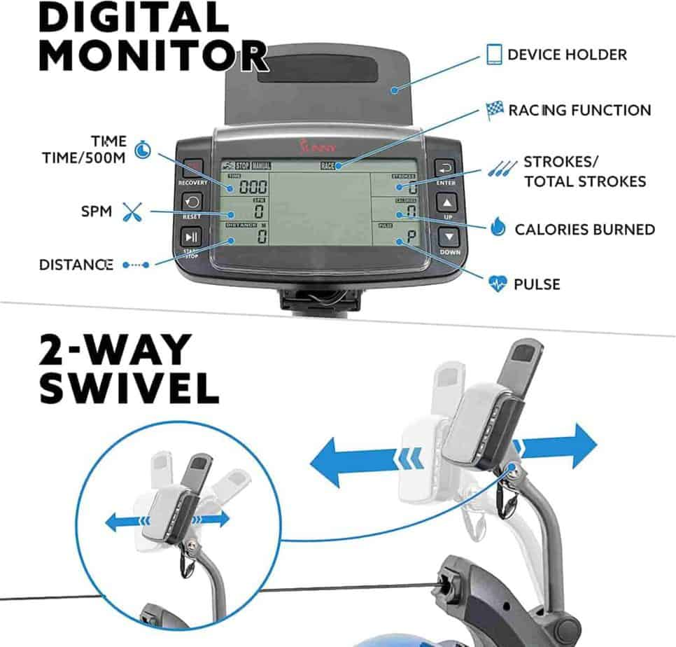 The swivel digital monitor of the Sunny Health & Fitness SF-RW5809 Hydro-Plus Resistance Rower