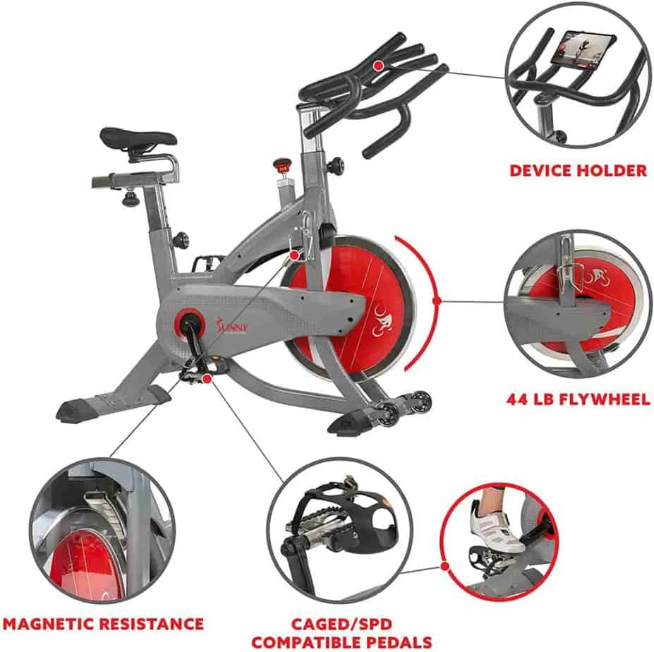 The magnetic resistance, dual-sided pedals, 44 lbs./19.95 kg high inertia flywheel, the handlebar, and the tablet holder of the Sunny Health & Fitness SF-B1711 AeroPro Indoor Cycling Bike