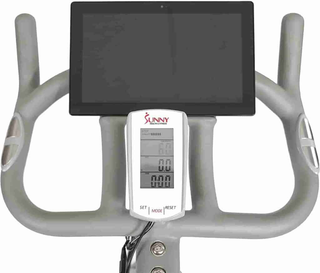 The console and the tablet holder of the Sunny Health & Fitness SF-B1876 Magnetic Resistance Cycling Bike