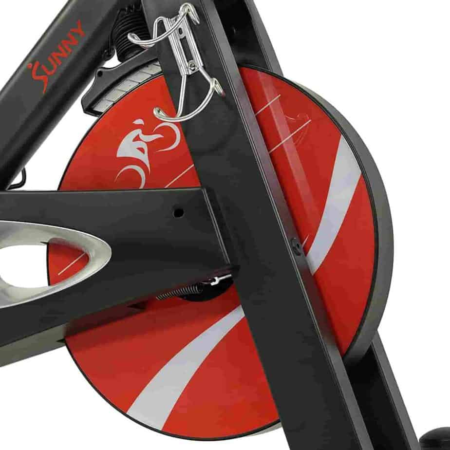 The magnetic resistance system of the Sunny Health & Fitness SF-B1986 Evolution Pro II Cycling Bike