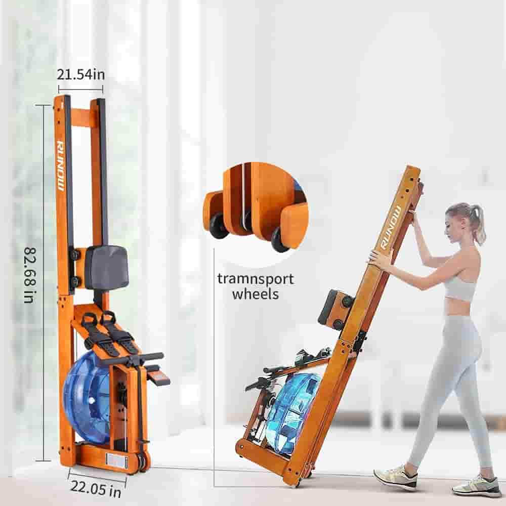 A user moves the RUNOW Oak Wood Water Rowing Machine and stores it vertically