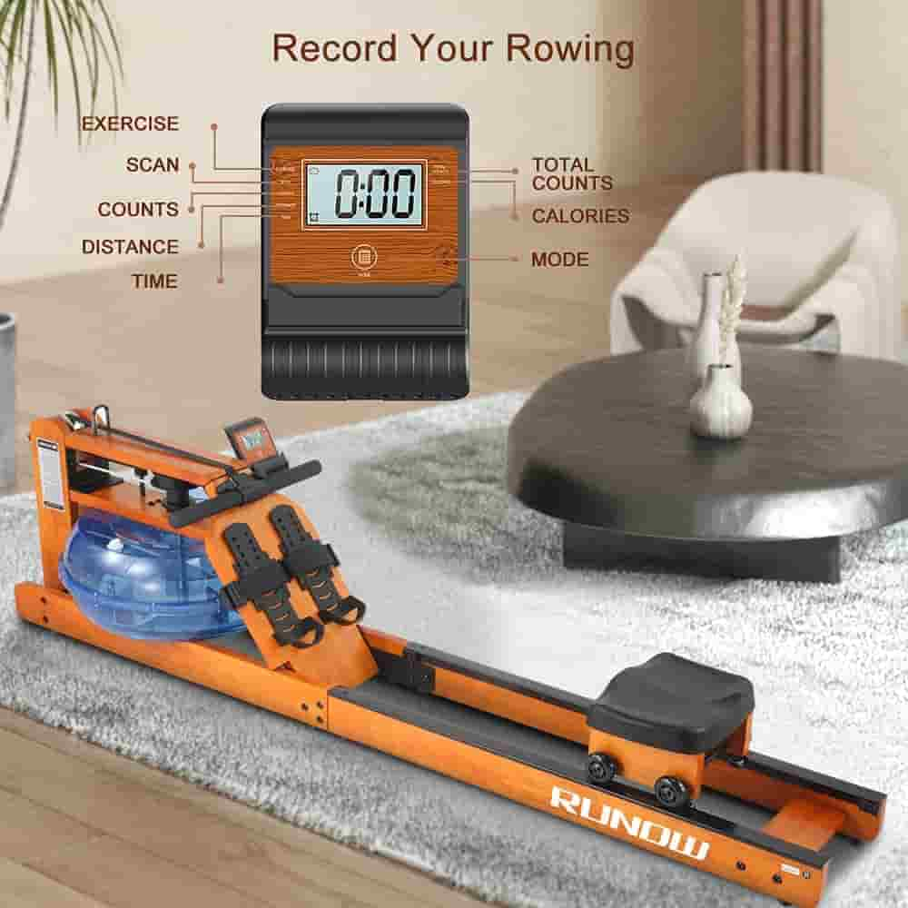 The RUNOW Oak Wood Water Rowing Machinewith its LDC monitor
