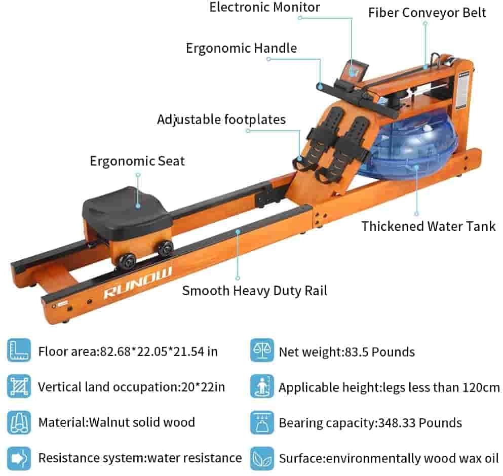 RUNOW Oak Wood Water Rowing Machine