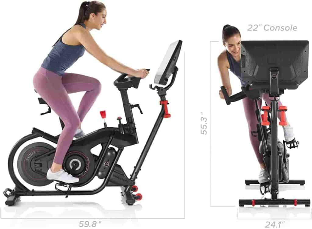 A user rides the Bowflex VeloCore IC22 Indoor Exercise Bike and performs the side-to-side workout