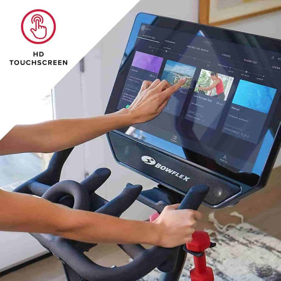 The HD smart touchscreen console of the Bowflex VeloCore IC22 Indoor Exercise Bike