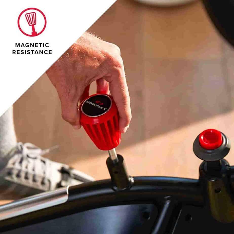 The resistance adjustment knob of the Bowflex VeloCore IC22 Indoor Exercise Bike