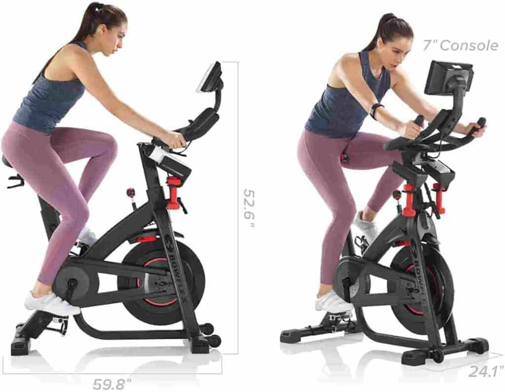 A lady cycles with the Bowflex C7 IC Indoor Exercise Bike