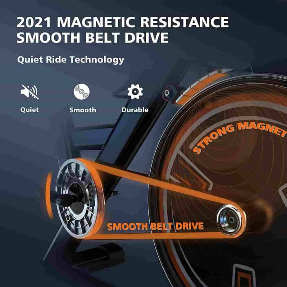 The drive train of the YOSUDA L-010 Pro Magnetic Exercise Bike