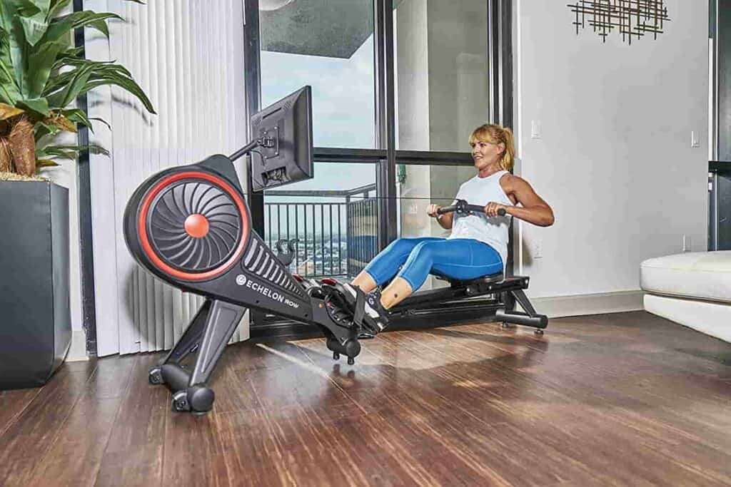 Lady works out on the Echelon (Row S) Smart Rower