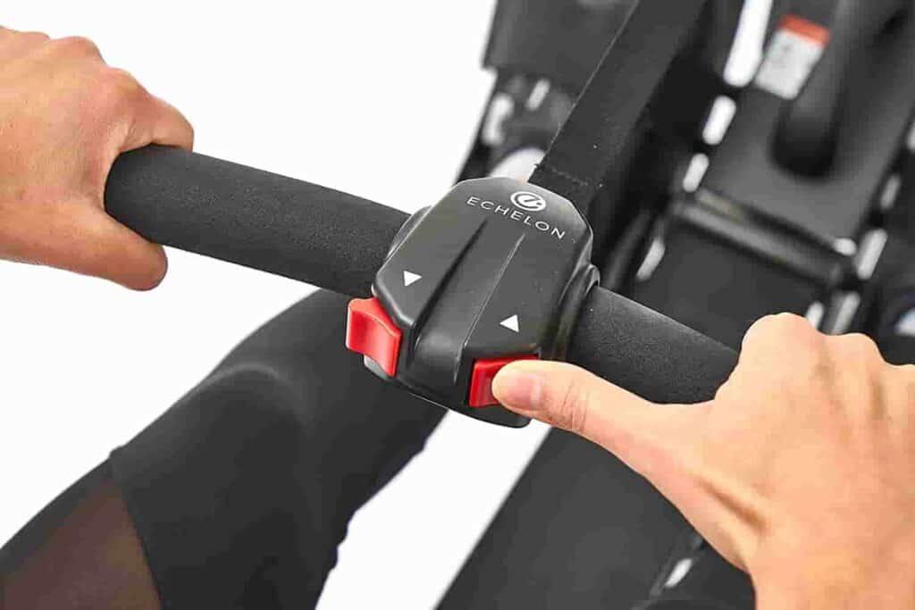 The handlebar of the Echelon (Row S) Smart Rower