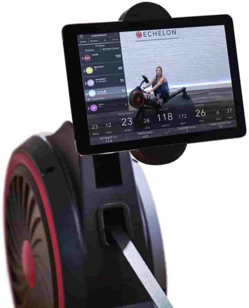 The device holder of the Echelon Smart Rowing Machine with a tablet on it