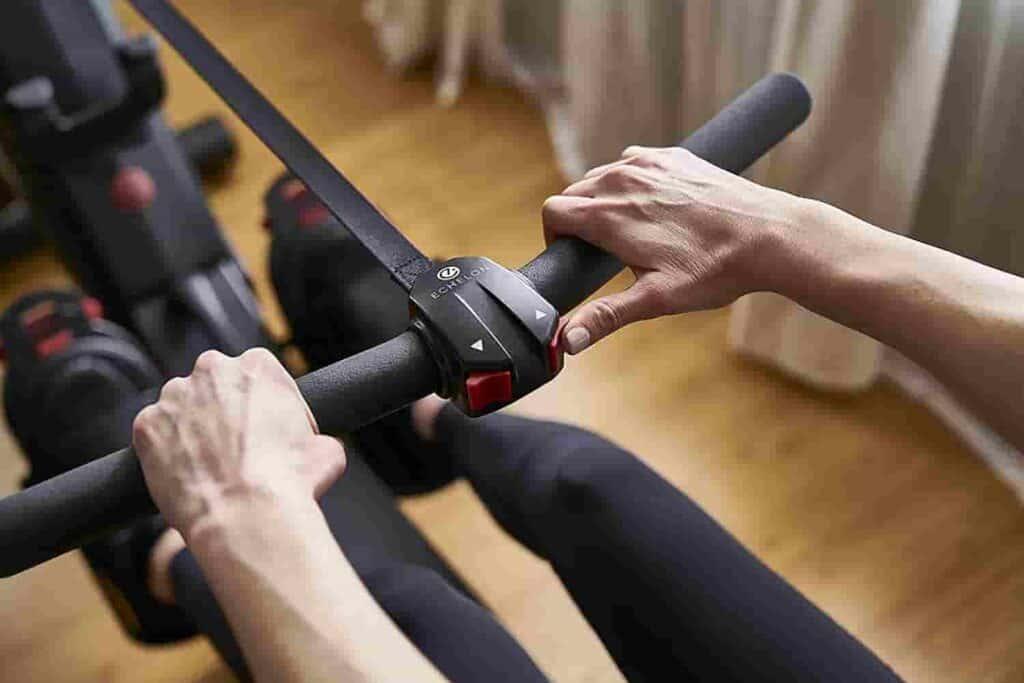 The handlebar of the Echelon Smart Rowing Machine